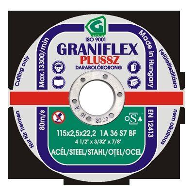 Darabolókorong, Graniflex, acél, 125 x 1,6 x 22,2 mm