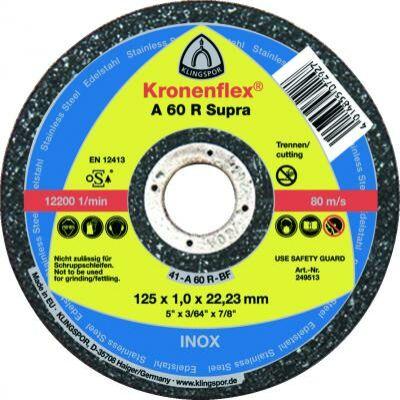Darabolókorong, Klingspor, A46 EX, inox, 125 x 1,6 x 22,2 mm